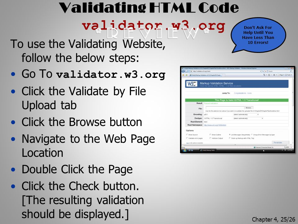 Validating HTML Code validator.w3.org