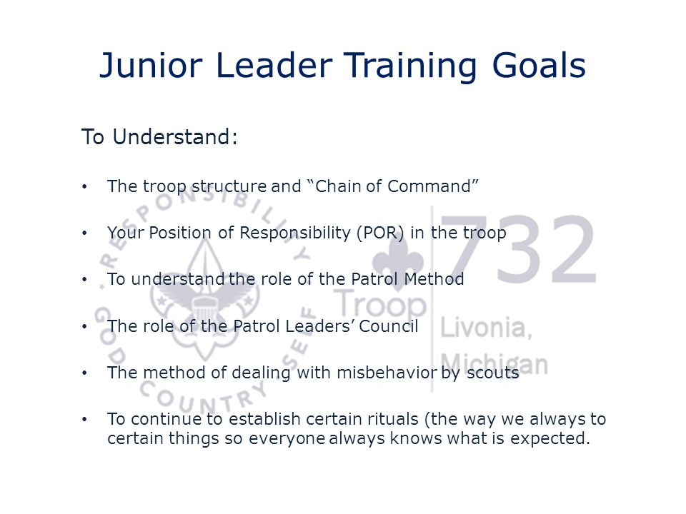 Junior Leader Training Goals