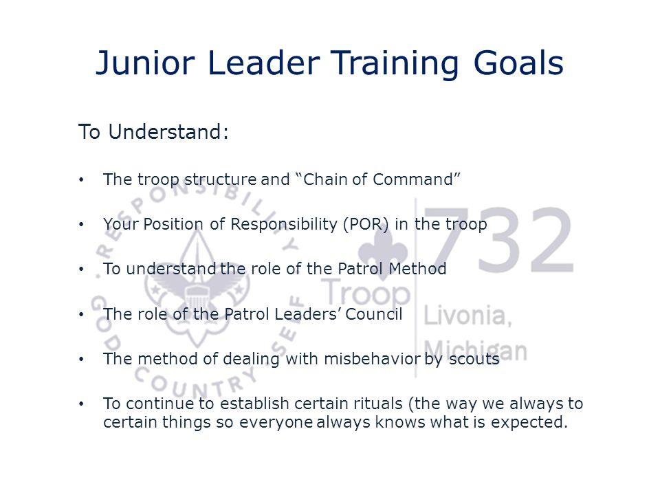 Junior Leader Training Goals