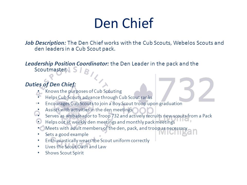 Den Chief Job Description: The Den Chief works with the Cub Scouts, Webelos Scouts and den leaders in a Cub Scout pack.