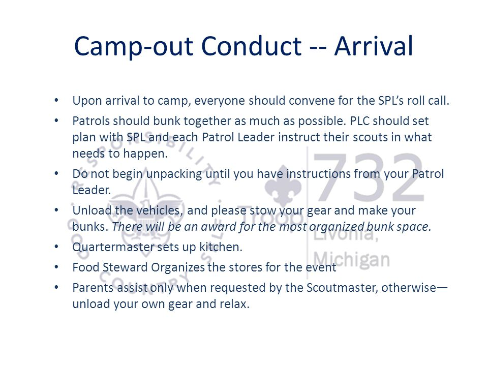 Camp-out Conduct -- Arrival