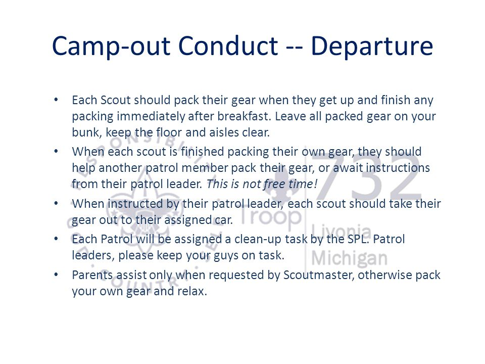 Camp-out Conduct -- Departure