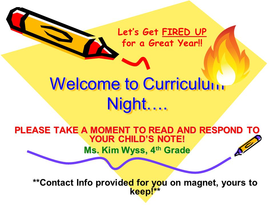 Welcome to Curriculum Night….