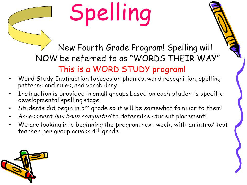 Spelling New Fourth Grade Program! Spelling will