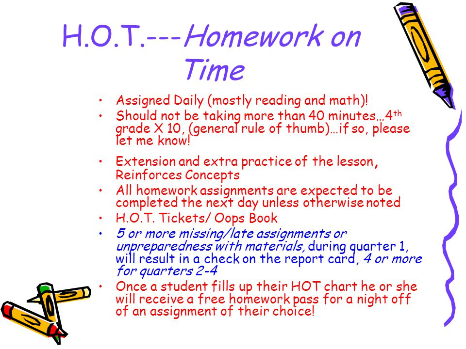 H.O.T.---Homework on Time