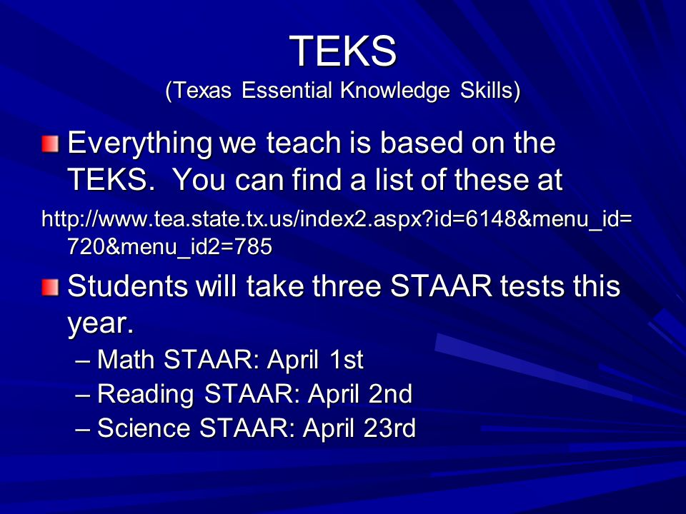 TEKS (Texas Essential Knowledge Skills)‏