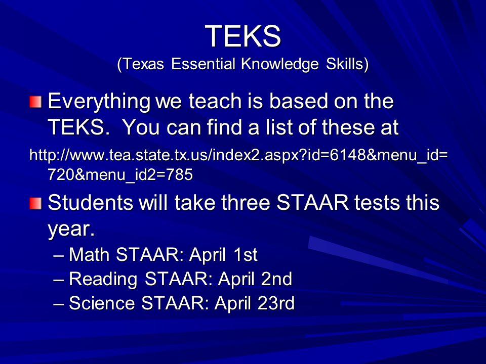 TEKS (Texas Essential Knowledge Skills)