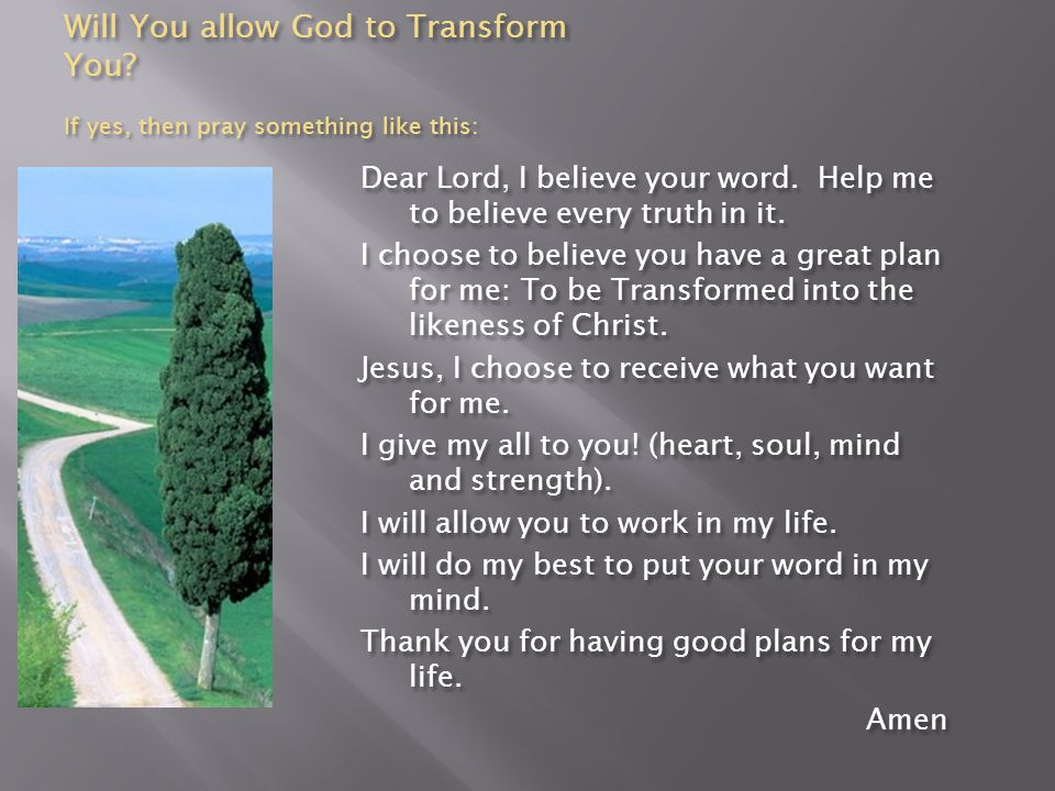 Will You allow God to Transform You