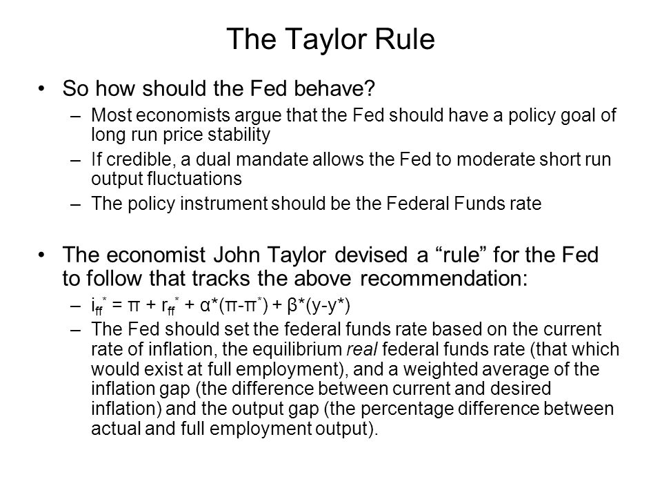 The Taylor Rule So how should the Fed behave