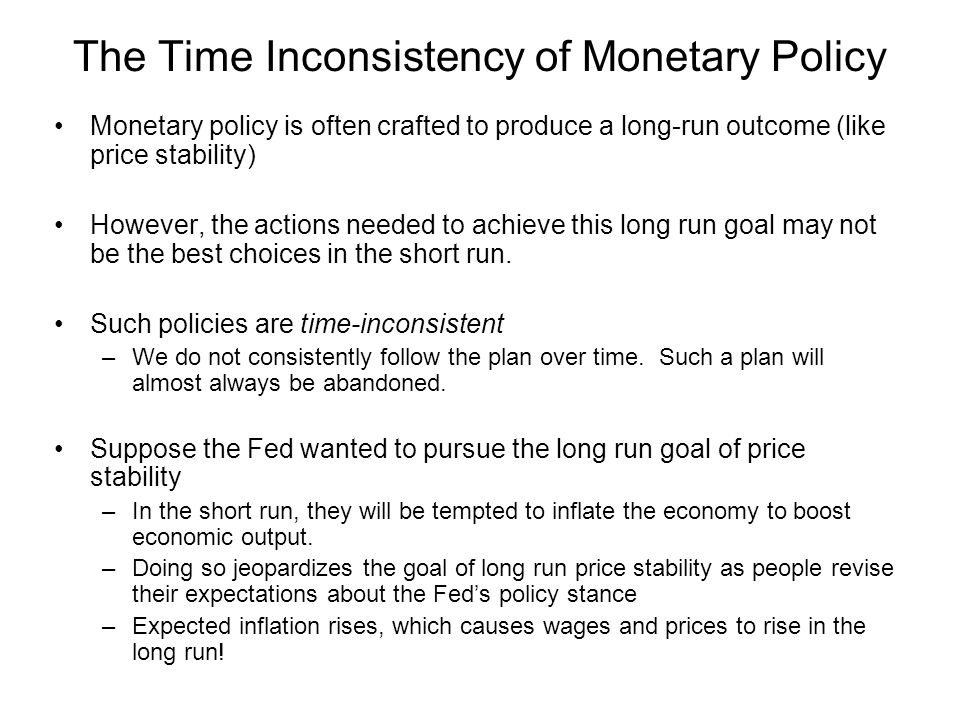 The Time Inconsistency of Monetary Policy