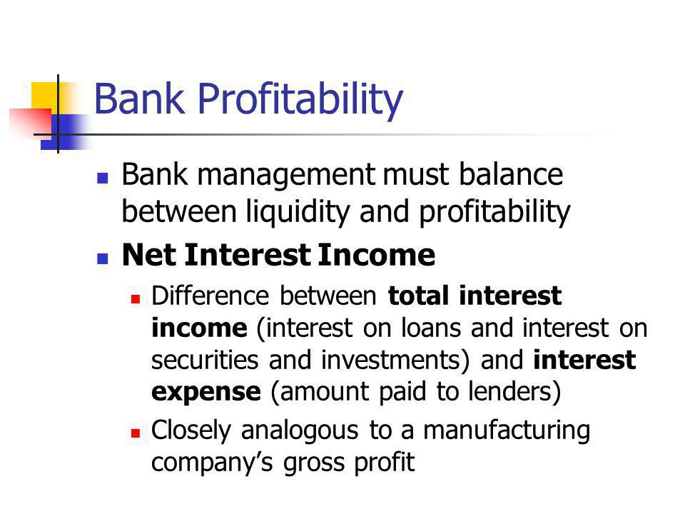 Bank Profitability Bank management must balance between liquidity and profitability. Net Interest Income.