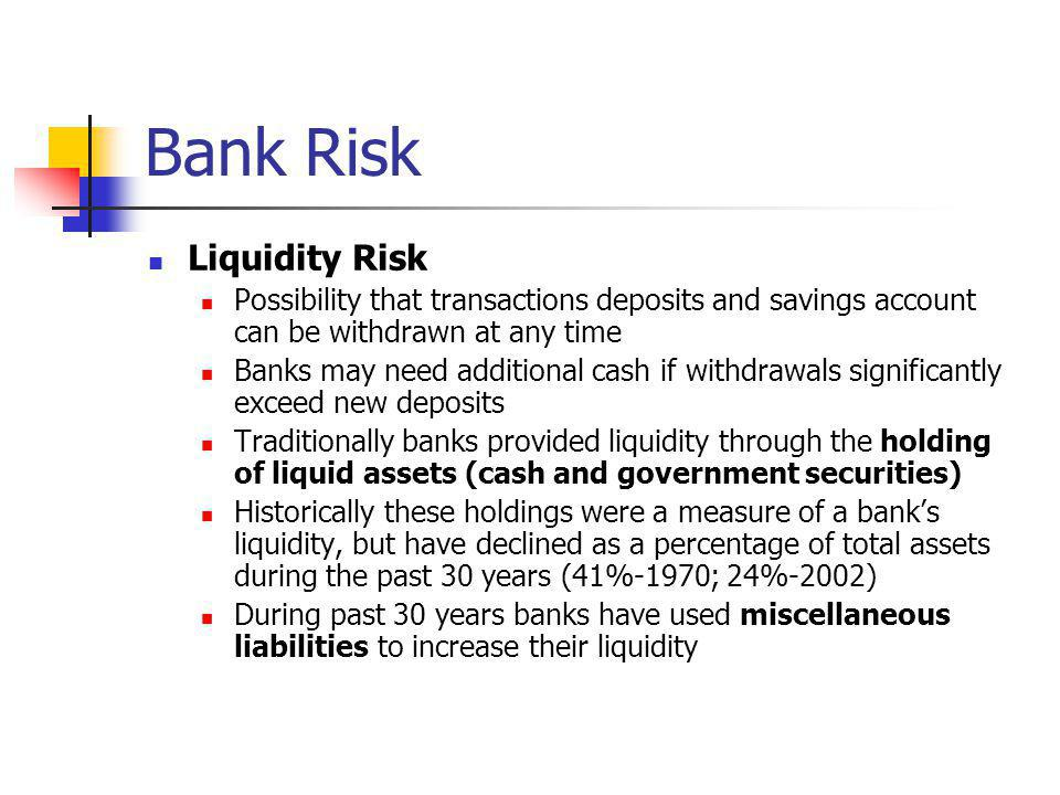 Bank Risk Liquidity Risk