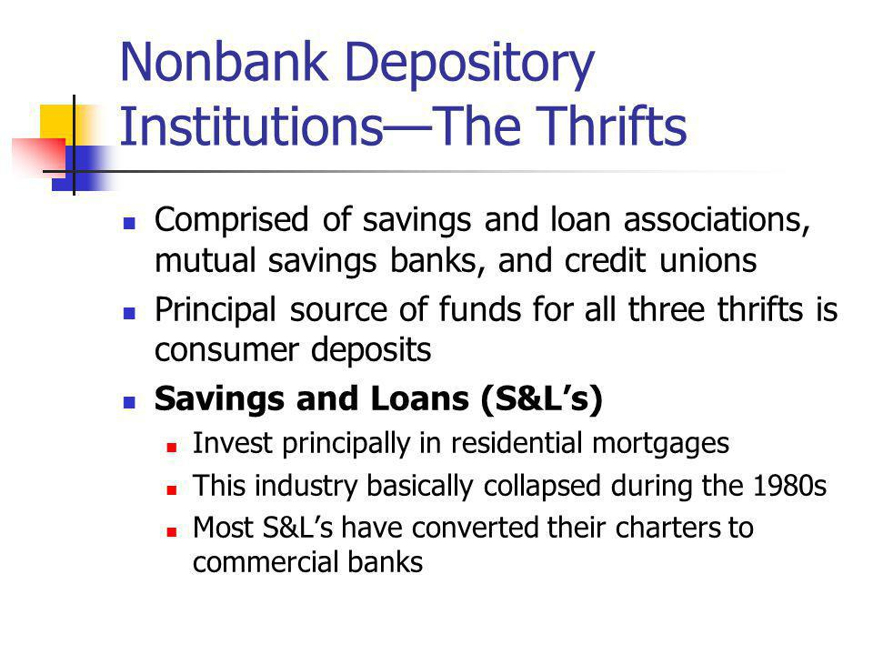 Nonbank Depository Institutions—The Thrifts