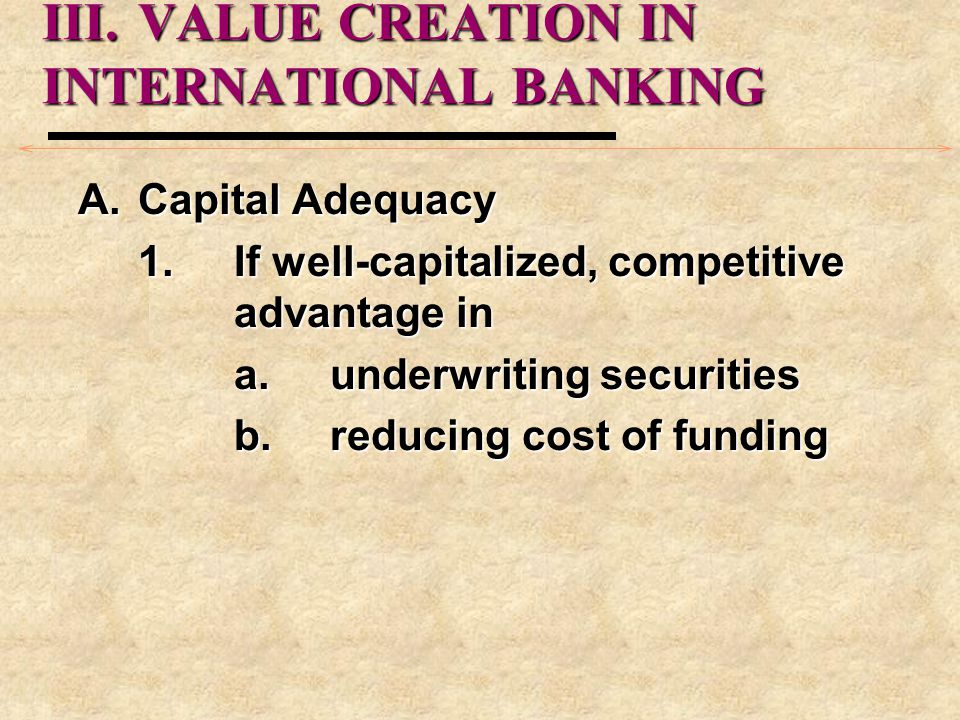 III. VALUE CREATION IN INTERNATIONAL BANKING