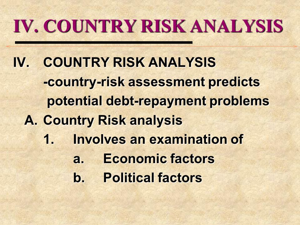 IV. COUNTRY RISK ANALYSIS