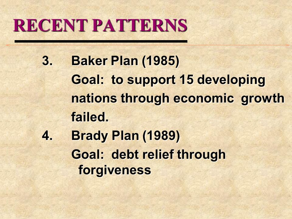 RECENT PATTERNS 3. Baker Plan (1985) Goal: to support 15 developing