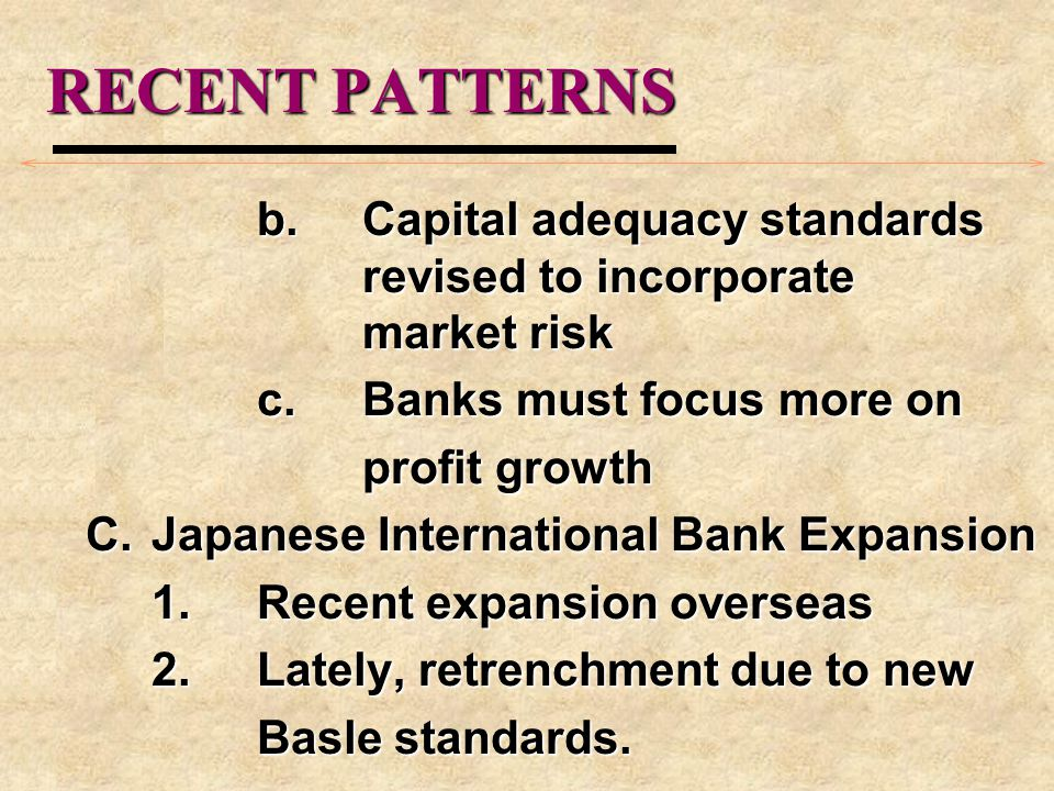 RECENT PATTERNS b. Capital adequacy standards revised to incorporate market risk. c. Banks must focus more on.