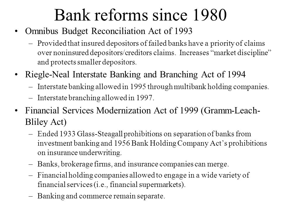 Bank reforms since 1980 Omnibus Budget Reconciliation Act of 1993