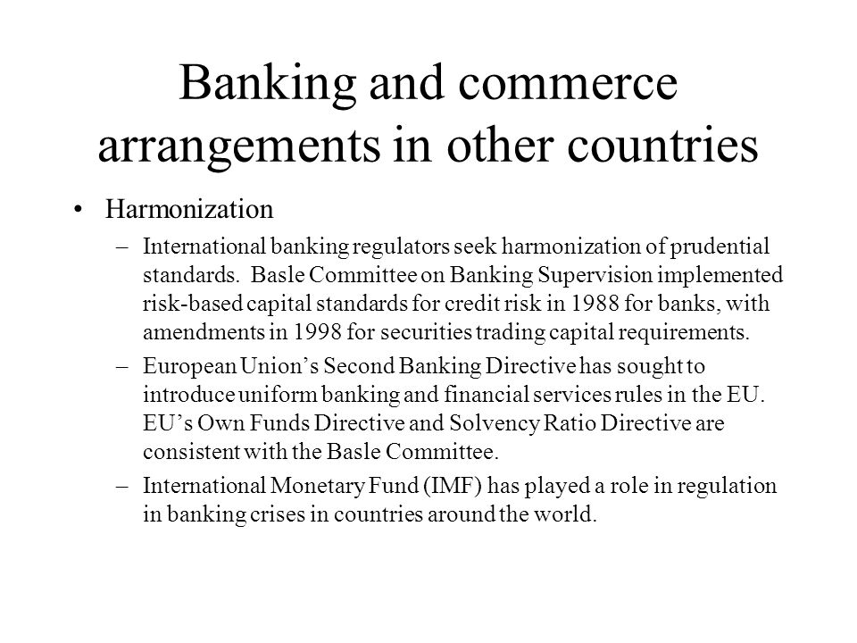 Banking and commerce arrangements in other countries