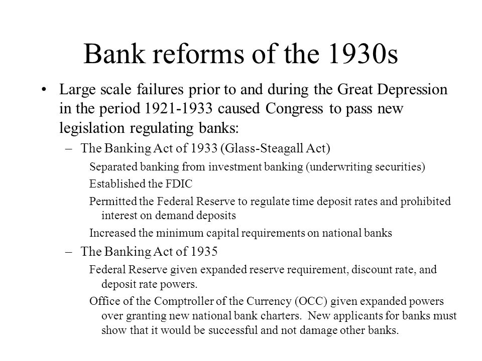 Bank reforms of the 1930s