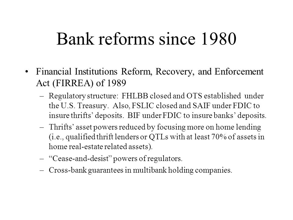 Bank reforms since 1980 Financial Institutions Reform, Recovery, and Enforcement Act (FIRREA) of 1989.