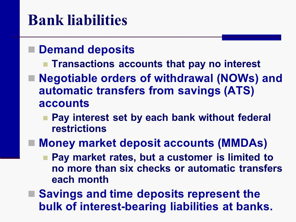 Bank liabilities Demand deposits