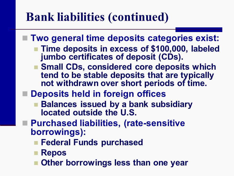 Bank liabilities (continued)