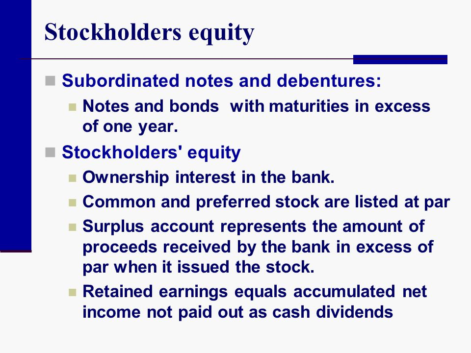 Stockholders equity Subordinated notes and debentures: