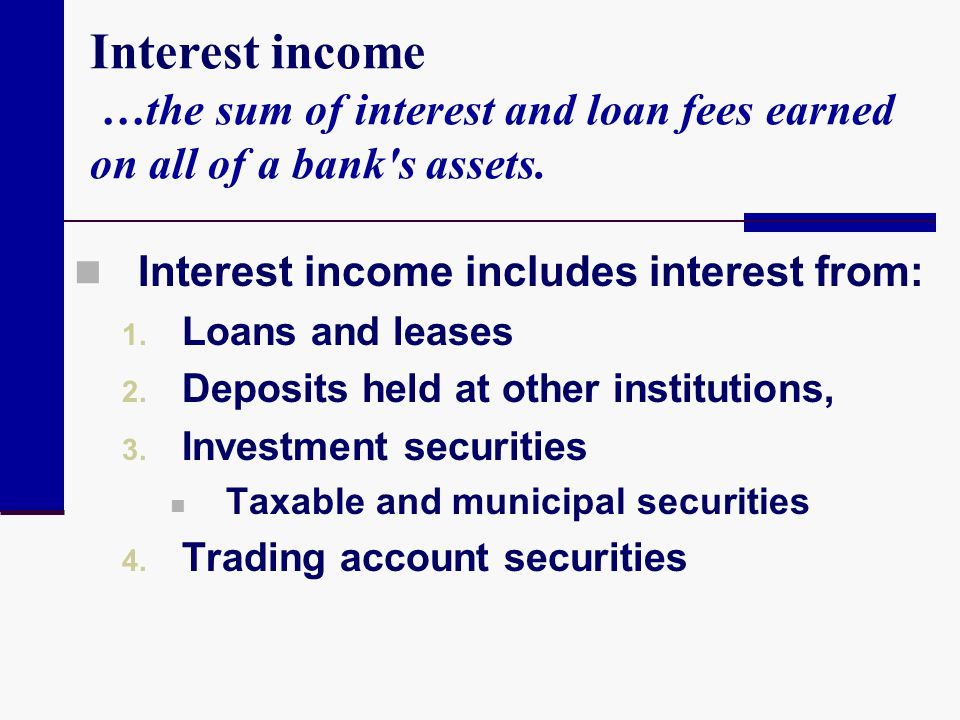 Interest income …the sum of interest and loan fees earned on all of a bank s assets.