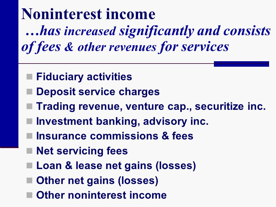 Noninterest income …has increased significantly and consists of fees & other revenues for services