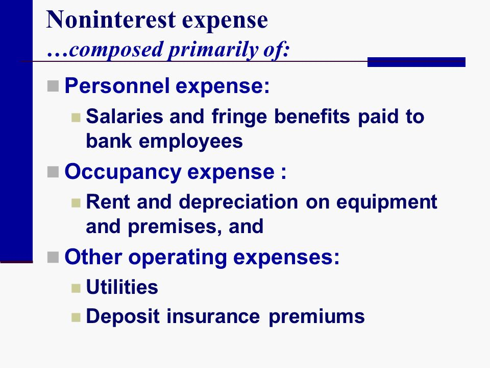 Noninterest expense …composed primarily of: