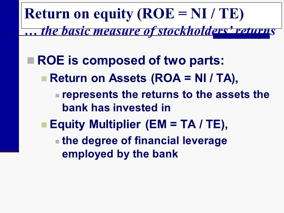 Return on equity (ROE = NI / TE) … the basic measure of stockholders' returns