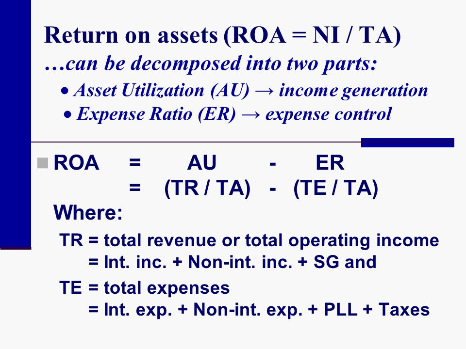 Return on assets (ROA = NI / TA) …can be decomposed into two parts:  Asset Utilization (AU) → income generation  Expense Ratio (ER) → expense control