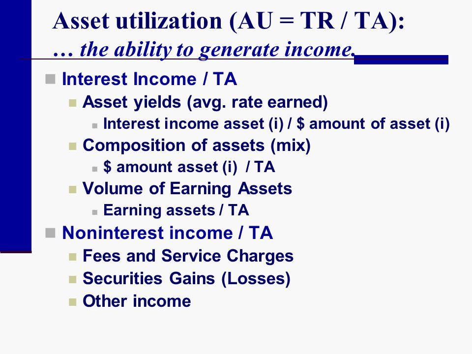 Asset utilization (AU = TR / TA): … the ability to generate income.