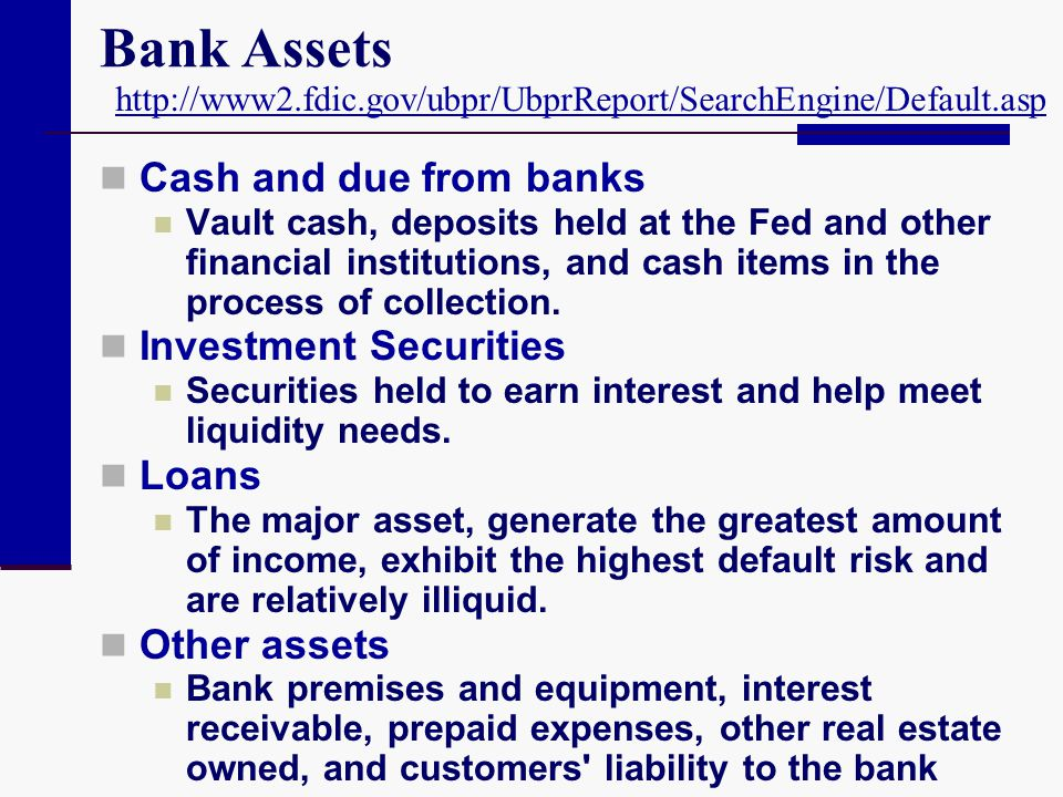 Bank Assets Cash and due from banks Investment Securities Loans