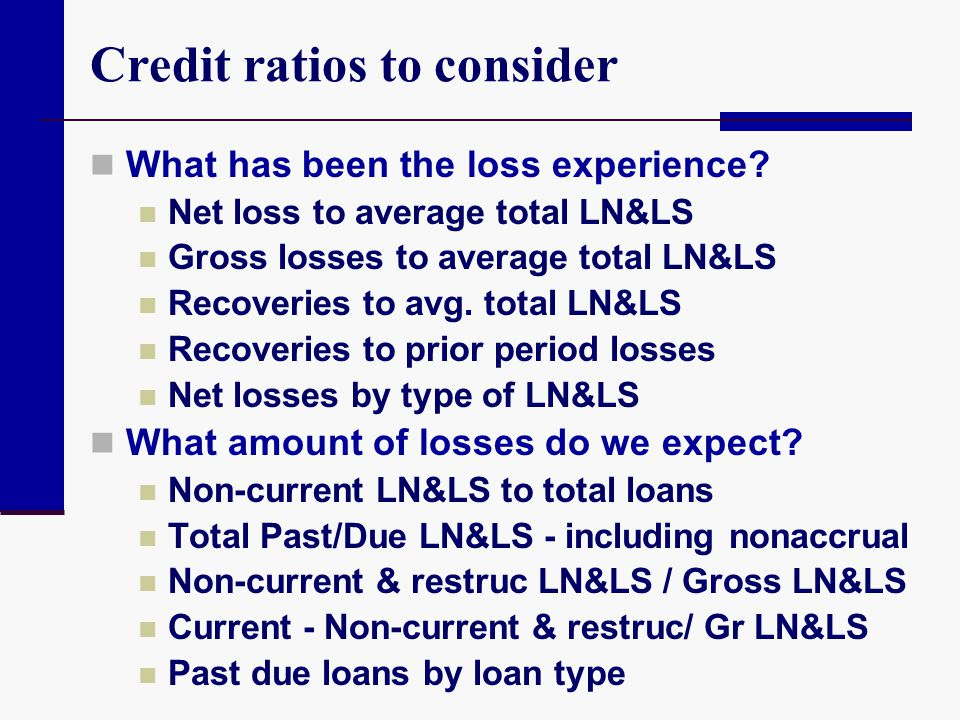 Credit ratios to consider