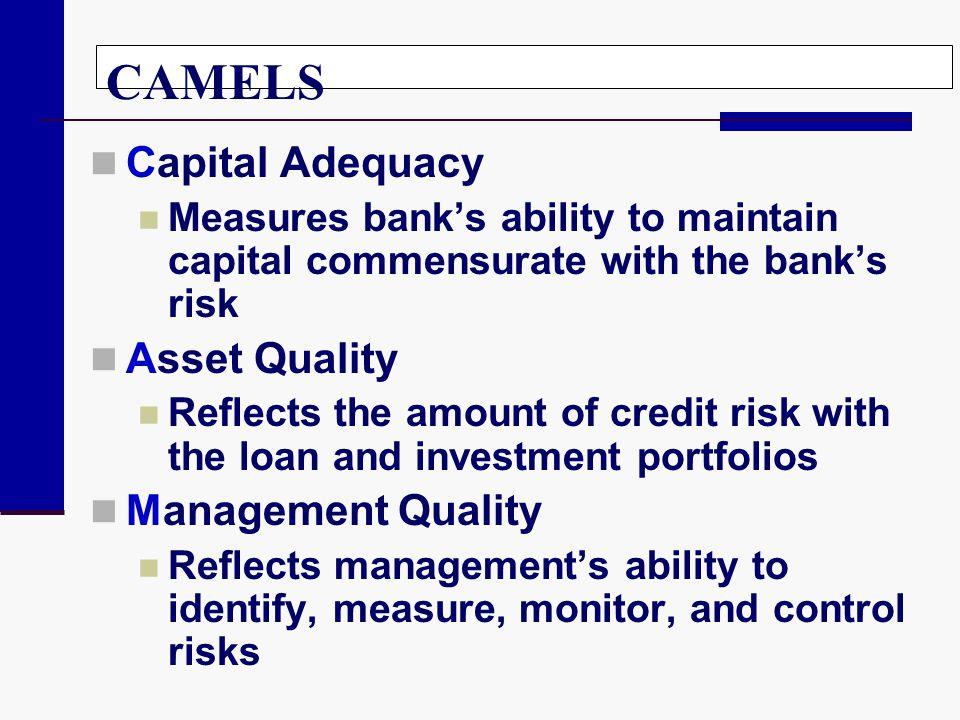CAMELS Capital Adequacy Asset Quality Management Quality