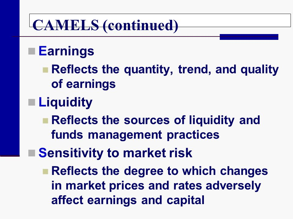 CAMELS (continued) Earnings Liquidity Sensitivity to market risk