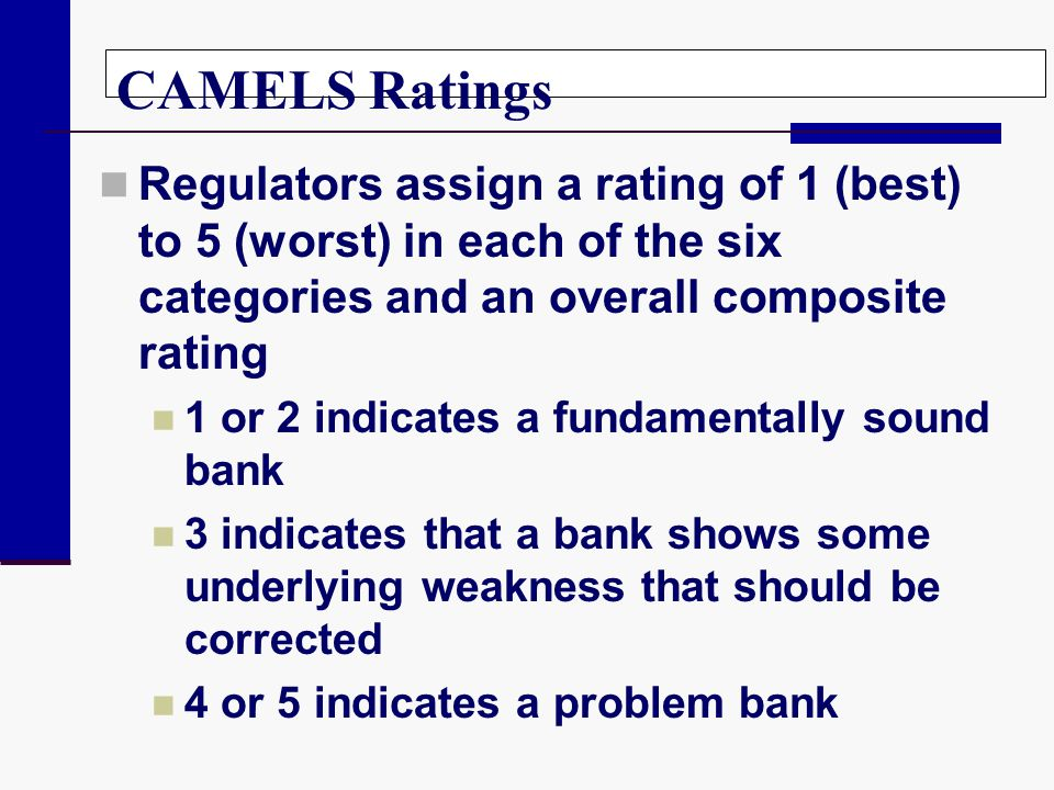 CAMELS Ratings Regulators assign a rating of 1 (best) to 5 (worst) in each of the six categories and an overall composite rating.