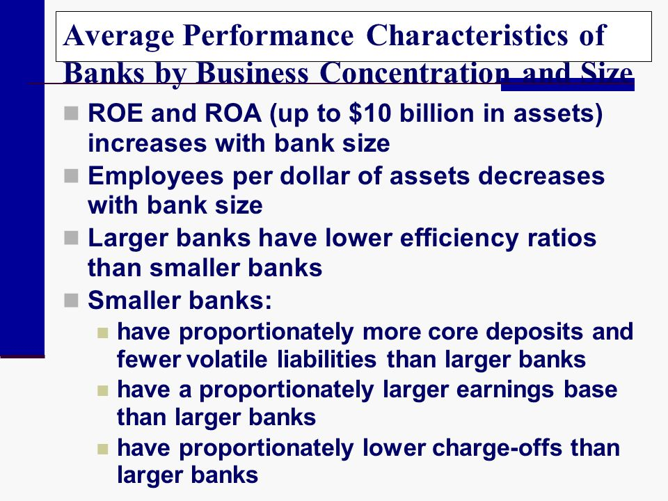 Average Performance Characteristics of Banks by Business Concentration and Size