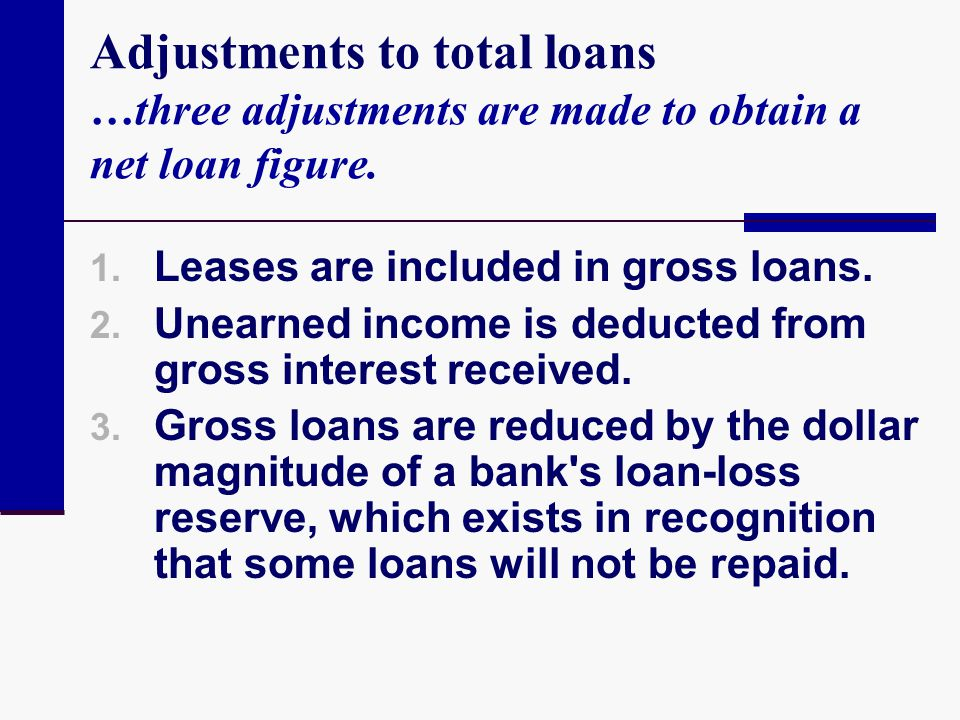 Adjustments to total loans …three adjustments are made to obtain a net loan figure.