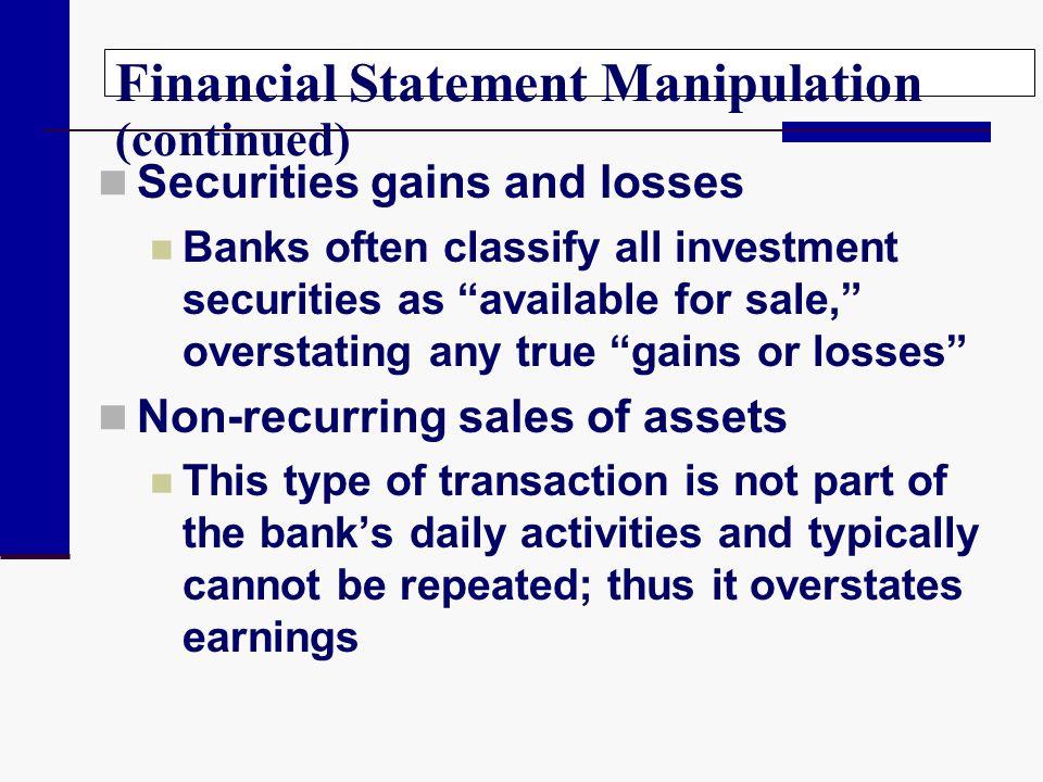 Financial Statement Manipulation (continued)