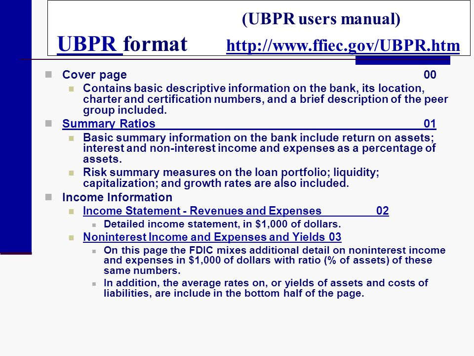 (UBPR users manual) UBPR format