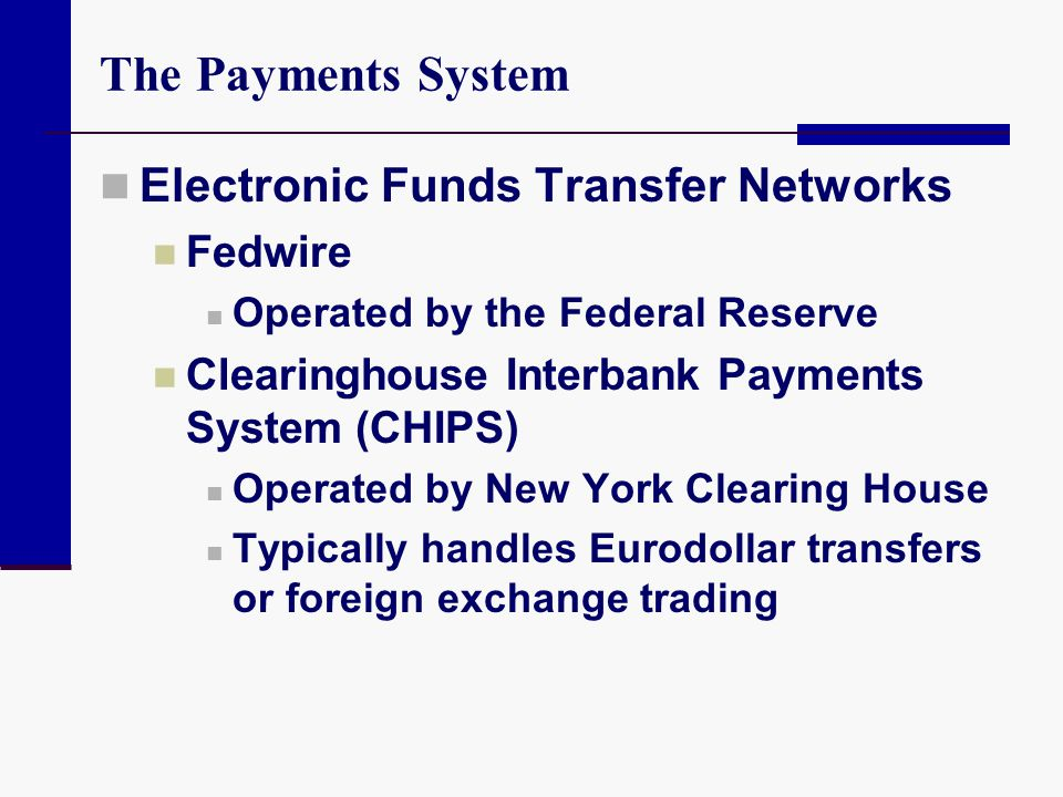 The Payments System Electronic Funds Transfer Networks Fedwire