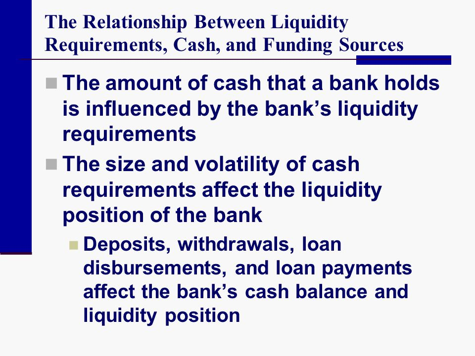 The Relationship Between Liquidity Requirements, Cash, and Funding Sources