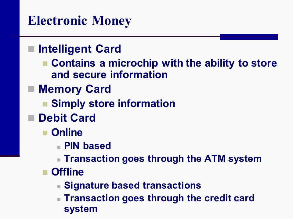 Electronic Money Intelligent Card Memory Card Debit Card