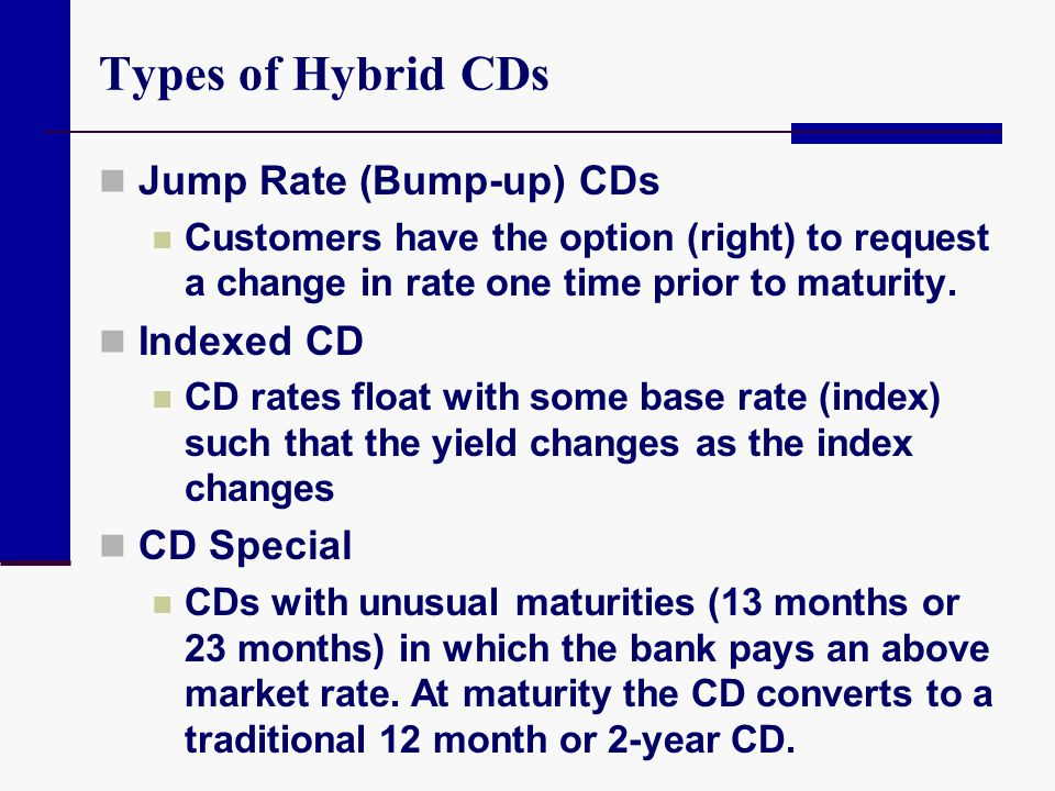 Types of Hybrid CDs Jump Rate (Bump-up) CDs Indexed CD CD Special