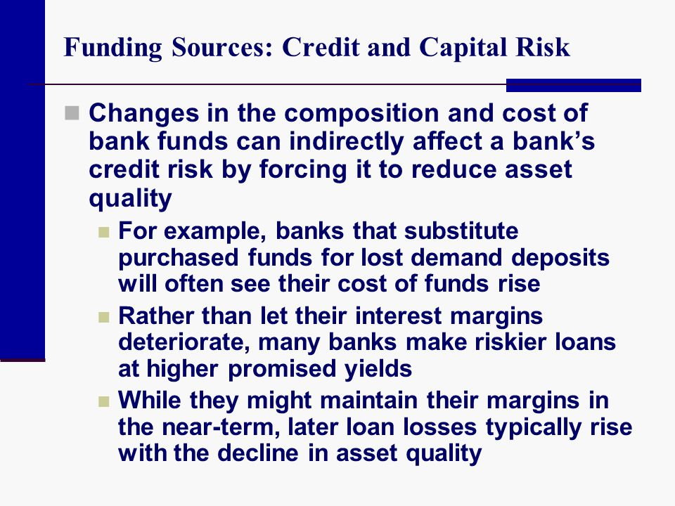 Funding Sources: Credit and Capital Risk