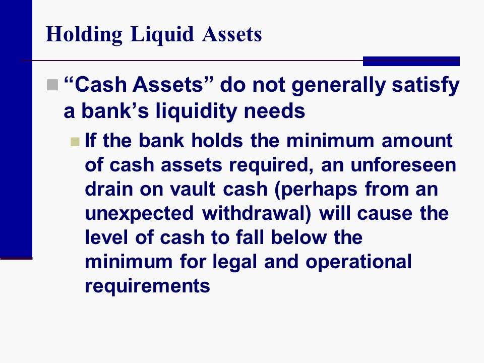 Holding Liquid Assets Cash Assets do not generally satisfy a bank's liquidity needs.
