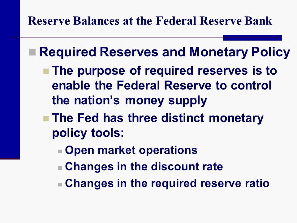 Reserve Balances at the Federal Reserve Bank